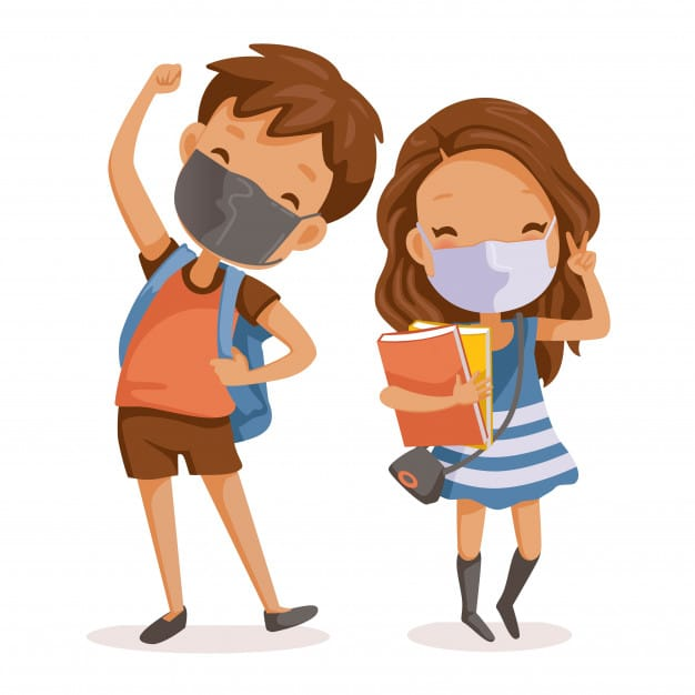 Dessin enfants souriants avec masques